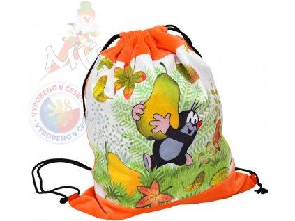 MORAVSKÁ ÚSTŘEDNA Krtek (Krteček) baťůžek stahovací oranžový hruška