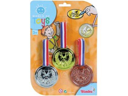 SIMBA Medaile pro vítěze trikolora set 3 kusy na kartě plast
