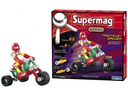 SUPERMAG tříkolka a řidič 63 dílků * MAGNETICKÁ STAVEBNICE *
