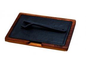 LAVA METAL Litinový talíř 25x18 cm s malým dřevěným podstavcem