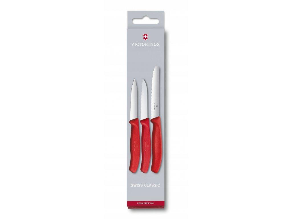 Victorinox sada nožů na zeleninu a uzeniny čevená