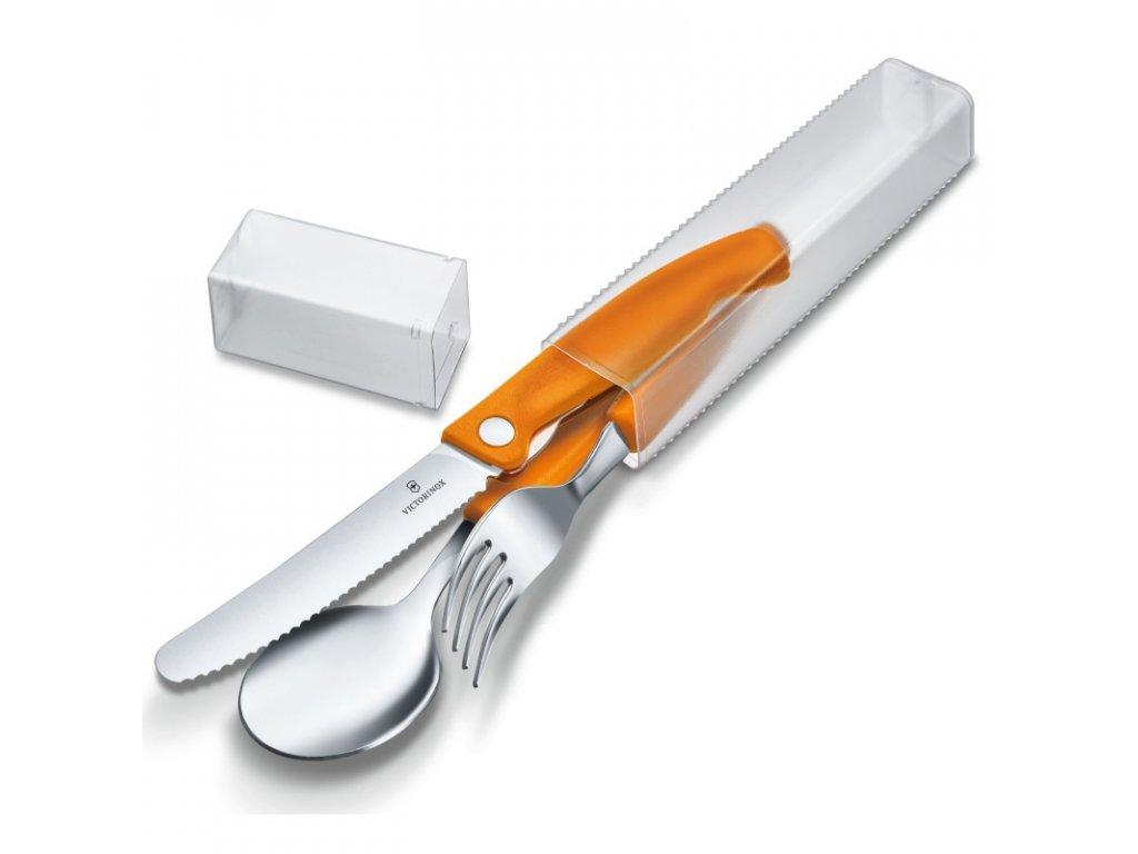 Sada Swiss Classic se skládacím nožem, oranžová 3 ks