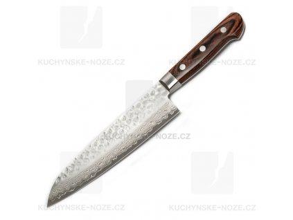 Kanetsune Hammered Damascus Santoku 185mm Mahagon