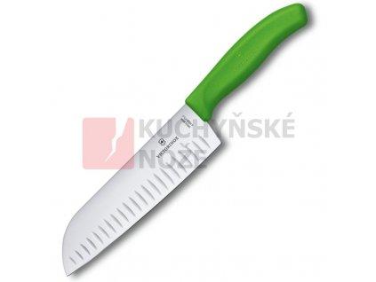 Victorinox kuchyňský nůž SANTOKU 17cm zelený