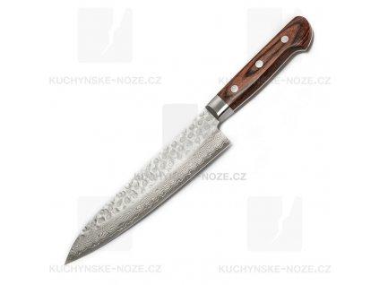 Kanetsune Hammered Damascus Gyutou 180mm Mahagon