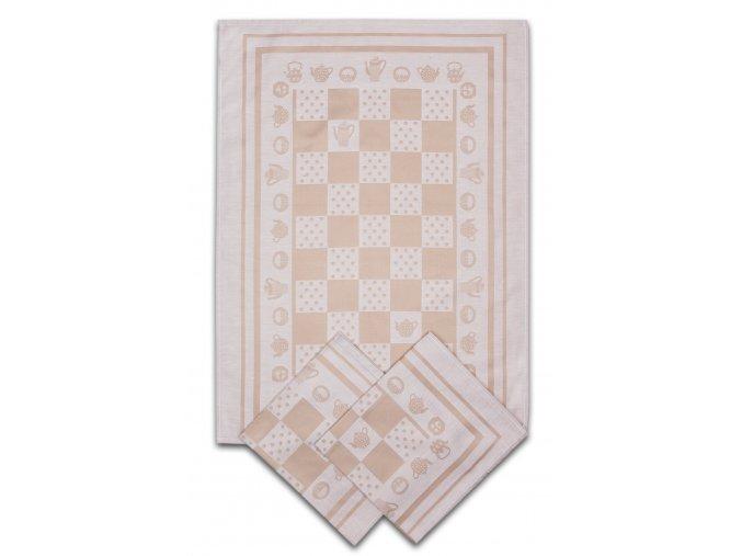 Utěrky egyptská bavlna KONVIČKA/PUNTÍK 50x70cm 3ks - BÉŽOVÁ