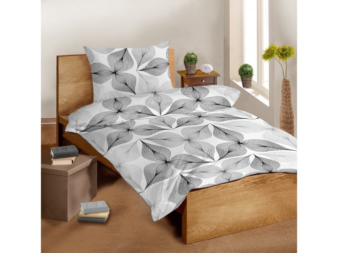 Saténové povlečení SLEEP WELL® 70x90 cm + 140x200 cm - SYMBIÓZA ČERNOBÍLÁ