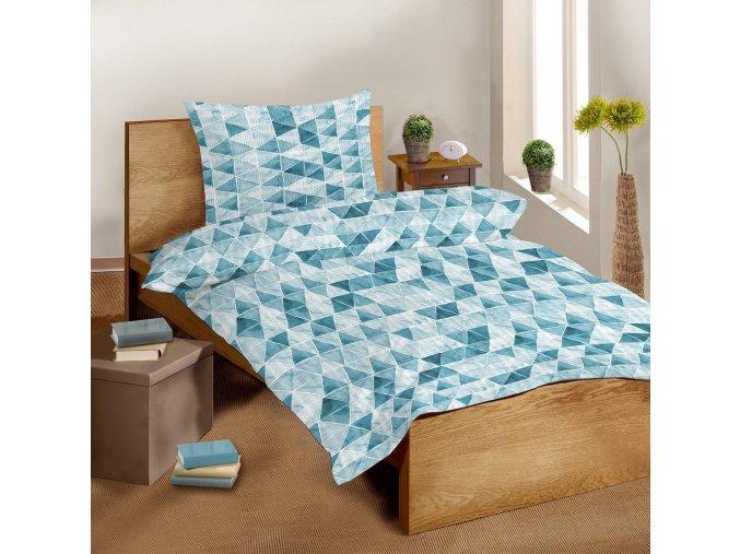 Krepové bavlněné povlečení SLEEP WELL 70x90 cm + 140x200 cm – AZURO