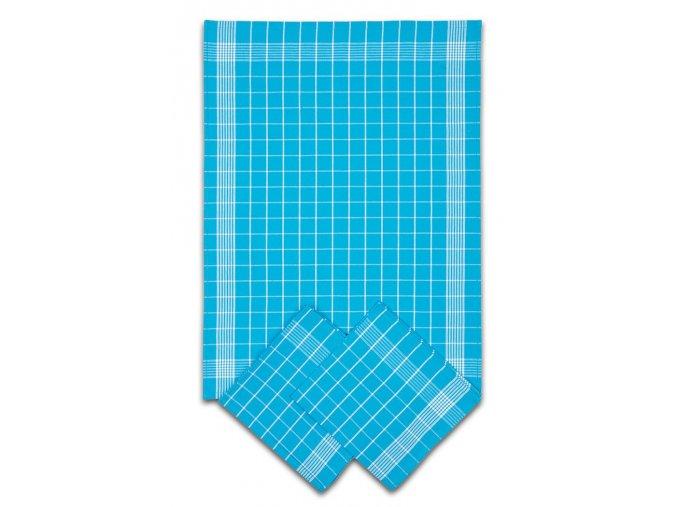 Utěrky bavlněné - Negativ tyrkysovo - bílá 50x70 cm 3ks