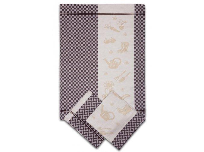 Utěrky egyptská bavlna ZAHRADA KOSTKA 50x70cm 3ks - HNĚDÁ