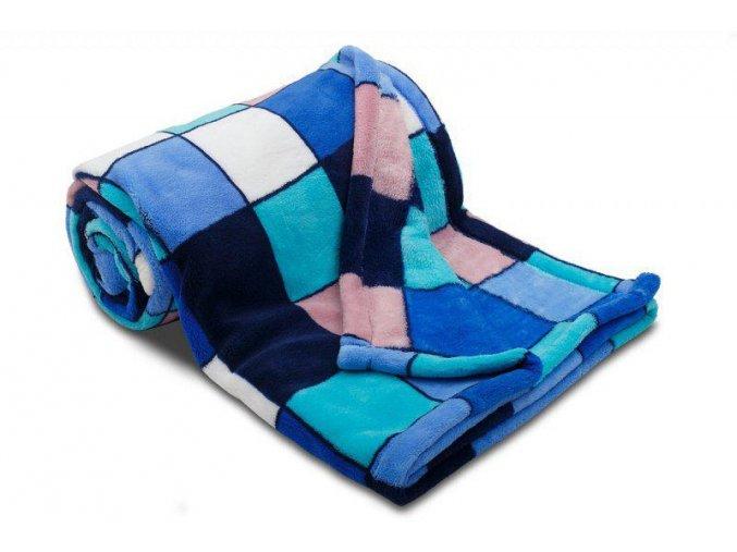 Dětská deka z mikrovlákna SLEEP WELL® 75 x 100cm - KOSTKA MODRÁ