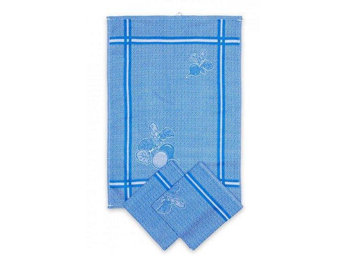 Utěrky egyptská bavlna, žakárově tkaná ŘEDKVIČKY 50x70cm 3ks - MODRÁ