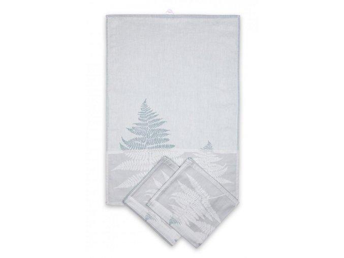 Utěrky egyptská bavlna, žakárově tkaná KAPRADINA 50x70cm 3ks - PASTELOVÁ