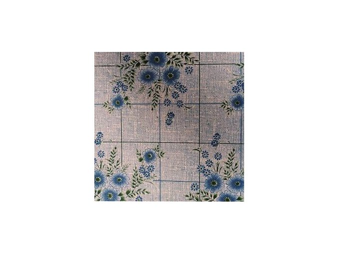 UBRUSOVINA PVC s textilním podkladem/PVC ubrus - vzor kytka modrá