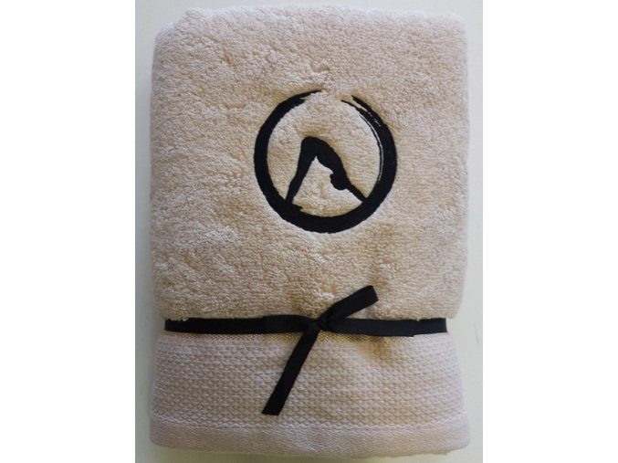 """Osuška béžová Jóga """"PES/STŘECHA"""" - z mikrobavlny SLEEP WELL® - 70x140 cm"""