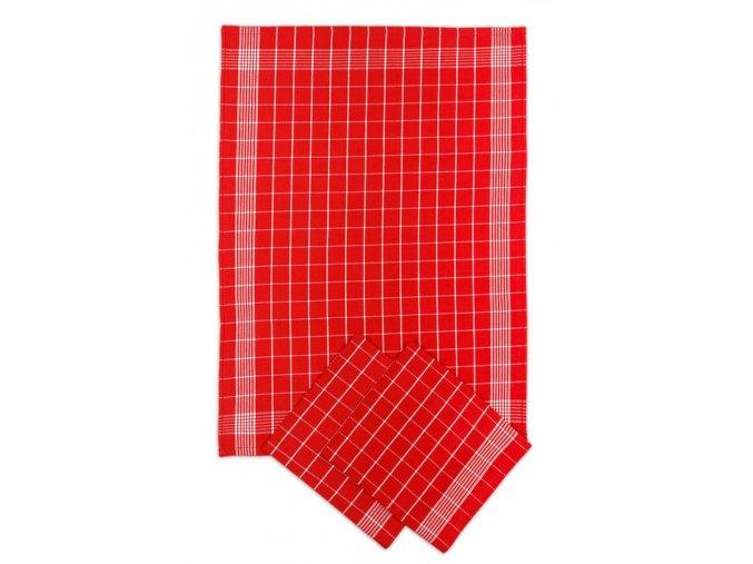 Utěrky bavlněné - Negativ červeno - bílá 50x70 cm 3ks