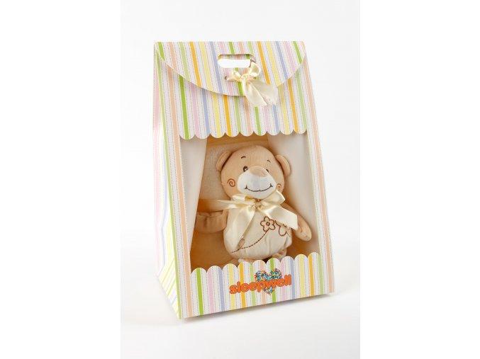 Dárkový set pro nejmenší SLEEP WELL® - MEDVÍDEK BÉŽOVÝ (deka+hračka)