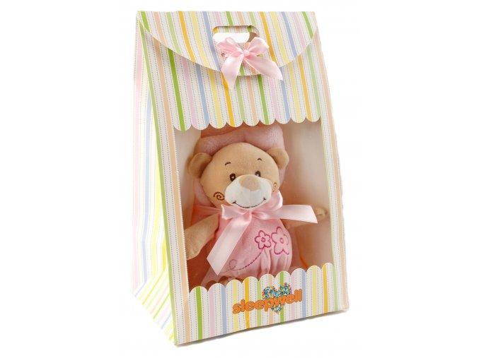 Dárkový set pro nejmenší SLEEP WELL® - MEDVÍDEK RŮŽOVÝ (deka+hračka)