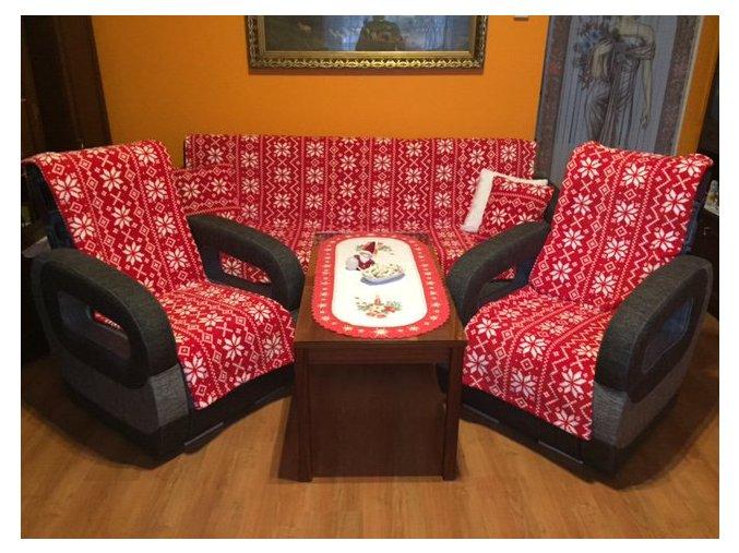 Vánoční přehozy na sedací soupravu SLEEP WELL® mikrovlákno tisk