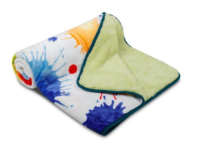 Dětská deka OVEČKA® 100x140 cm - AKVAREL KAŇKY se smetanovým plyšem