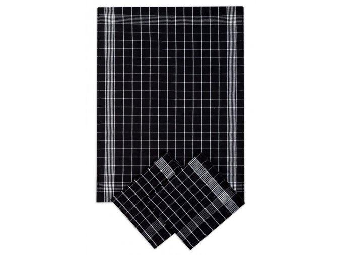 Utěrky bavlněné - Negativ černo - bílá 50x70 cm 3ks