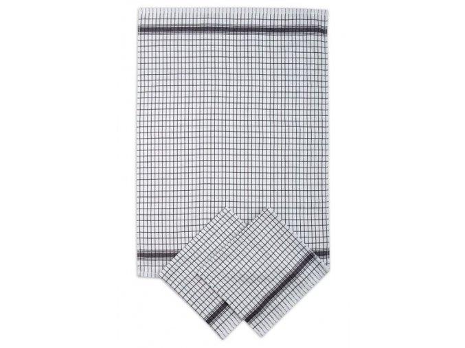 Utěrky žakárové extra savé 50x70cm 3ks - BÍLO/ČERNÁ KOSTKA