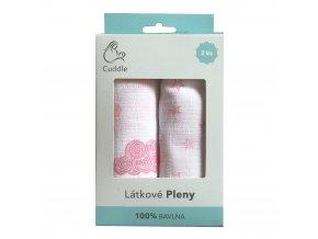 Dárkové balení pleny pro holčičky 100% bavlna 2ks - RŮŽOVÁ