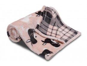 Dětská deka z mikroflanelu SLEEP WELL 100x150cm ZAJÍC RŮŽOVÁ