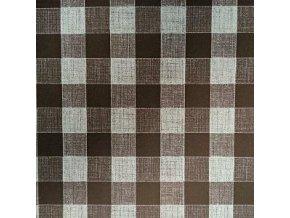 UBRUSOVINA PVC s textilním podkladem/PVC ubrus - vzor kostka hnědá