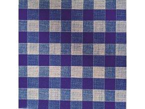 UBRUSOVINA PVC s textilním podkladem/PVC ubrus - vzor kostka modrá