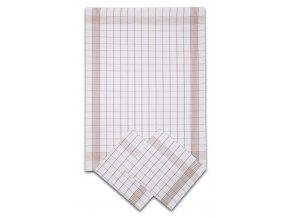 Utěrky bavlněné - Pozitiv bílo - béžová 50x70 cm 3ks