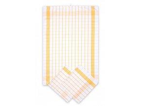 Utěrky bavlněné - Pozitiv bílo - žlutá 50x70 cm 3ks