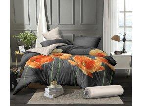 Povlečení mikroflanel na francouzskou postel VLČÍ MÁKY - 2x70x90 cm + 200x240 cm, kolekce 2021