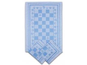 Utěrky egyptská bavlna KONVIČKA/PUNTÍK 50x70cm 3ks - MODRÁ