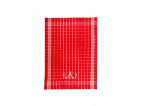 Utěrky Negativ s cibulákovým vzorem červené s bílou výšivkou 50x70 cm 3ks