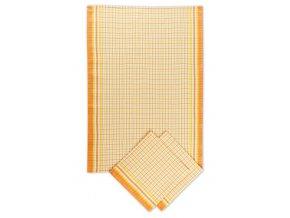 Utěrky bambusové Malá kostka oranžová - 3ks 50x70 cm