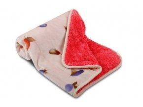 Dětská deka OVEČKA® 100x140 cm - LESNÍ PLODY se smetanovým plyšem