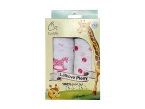 Látkové pleny - dárkové balení růžové, 100% bavlna, 2 kusy