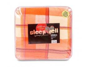 Povlečení mikrovlákno SLEEP WELL® na francouzskou postel KÁRO ORANŽOVÉ - 2x 70x90 cm + 200x240 cm