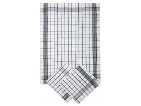 Utěrky bavlněné - Pozitiv bílo - černá 50x70 cm 3ks