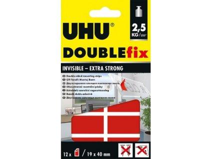 UHU DOUBLEfix invisible - 12 dílků extra silné průhledné lepící pásky