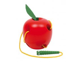 Small Foot Dřevěná hra na provlékání jablko na provlékání
