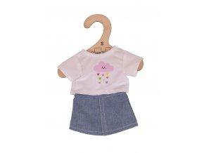 Bigjigs Toys Bílé tričko s riflovou sukní pro panenku 28cm