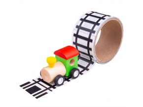 Bigjigs Toys Lepící páska koleje s mašinkou