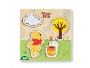 Lena Dřevěné puzzle medvídek Pů