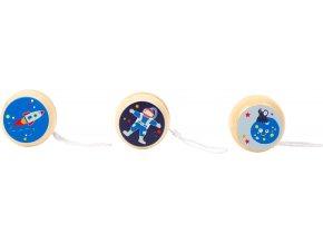 Small Foot Dřevěné jojo Space 1 ks modrá raketa Small Foot Dřevěné jojo Space 1 ks modrá raketa