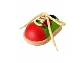 PlanToys Šněrovací botička zeleno-červená