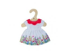 Bigjigs Toys Bílé květinové šaty s červeným límečkem pro panenku 28 cm