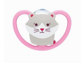 NUK NUK Dudlík Space holka 6-18 měs kotě růžová NUK NUK Dudlík Space holka 6-18 měs kotě růžová