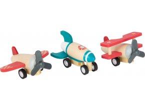 Small Foot Dřevěná natahovací letadla 3 ks